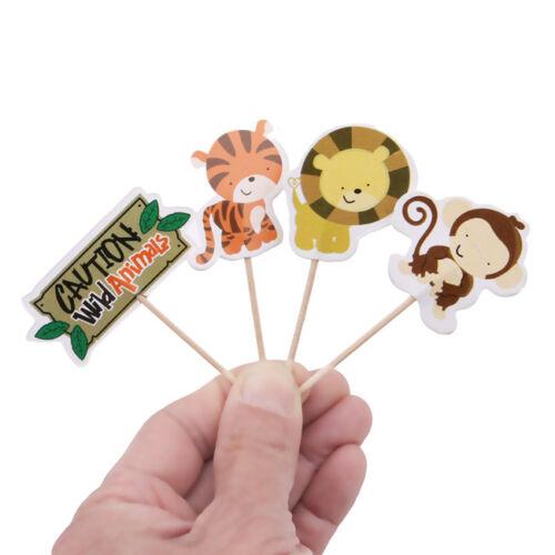 24pcs Jungle Animal Safari Zoo Food Cupcake Topper Cake Party Lolly Flag SH