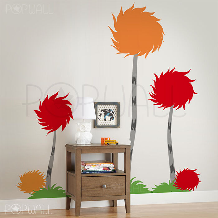 Dr seuss Truffula trees wall decal - kids room decal - colorful