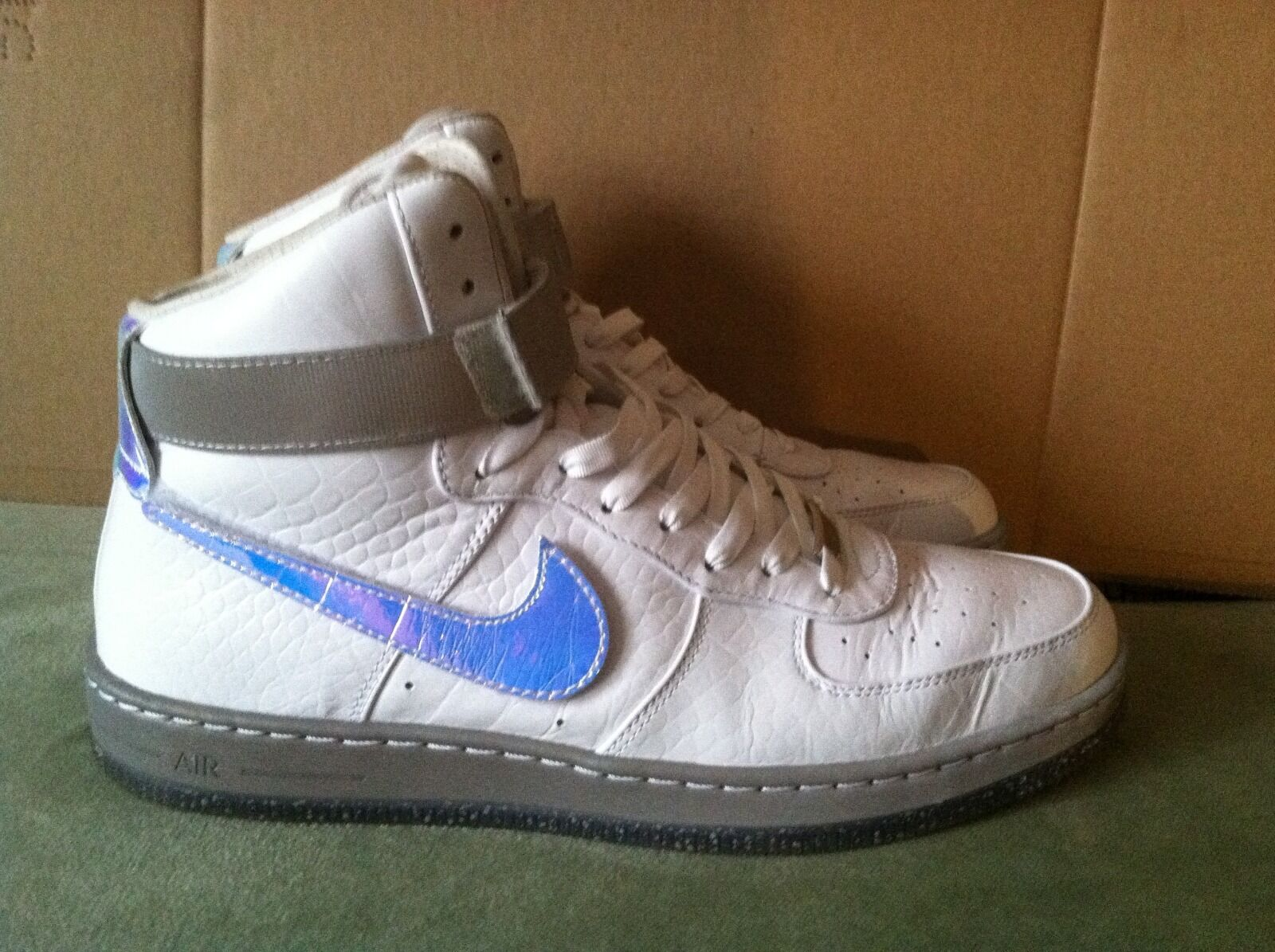 NIKE Air Force 1 AF1 Downtown HI LW QS SZ 10 White Velcro Swoosh Patent Leather