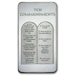 10 Oz Ten Commandments Silver Bar 10 Commandments Silver
