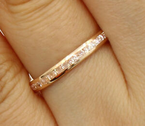 14K-Rose-Pink-Gold-Round-channel-Eternity-Endless-Anniversary-Wedding-Ring-Band