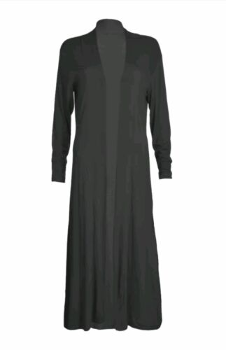 Ladies Jersey Soft Long Lenth Open Front Boyfriend Maxi Cardigan UK Size 8-26