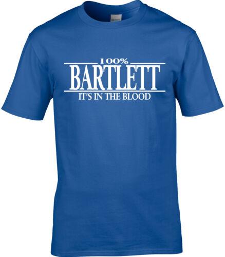 Bartlett Surname Mens T-Shirt 100/% Bartlett Gift Name Family