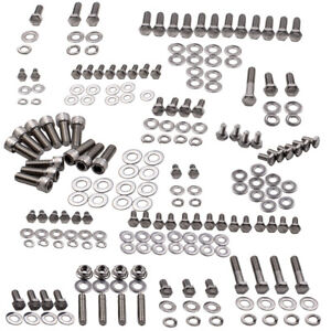 SMALL-BLOCK-for-CHEVY-283-327-350-400-POLISHED-STAINLESS-OIL-PAN-STUD-BOLT-KIT