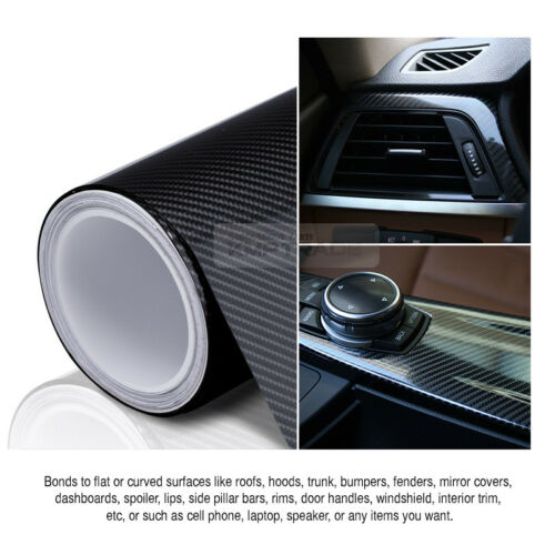 "7.8/""x11/"" Ultra Shiny High Glossy 5D Carbon Black Vinyl Decal Fiber for JEEP Car"