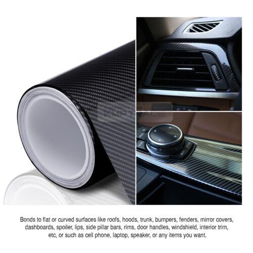 "7.8/""x11/"" Ultra Shiny High Glossy 5D Carbon Black Vinyl Decal Fiber for JEEP Car"