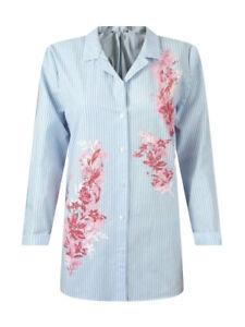 Ex-M-amp-S-Per-Una-Damas-Azul-a-Rayas-camisa-de-mangas-largas-Blusa-Talla-10-22-Algodon