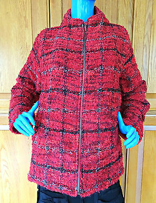 Chico's Red Wool Blend Boucle Tweed Jacket Coat 2 L 12 14 16 Chunky Plaid Zip Up