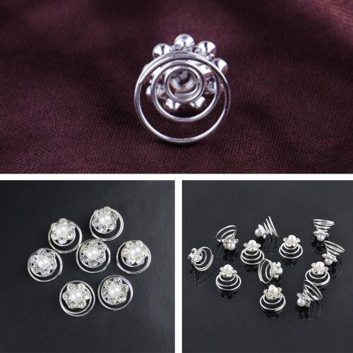 12pcs Women Lady Bride Crystal Pearl Flower Hair Pins Headwear Spiral Hair Clips