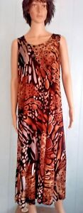 Jostar-USA-BROWN-Abstract-Long-Dress-No-Iron-SLINKY-Poly-Spandex-S-M-L-XL