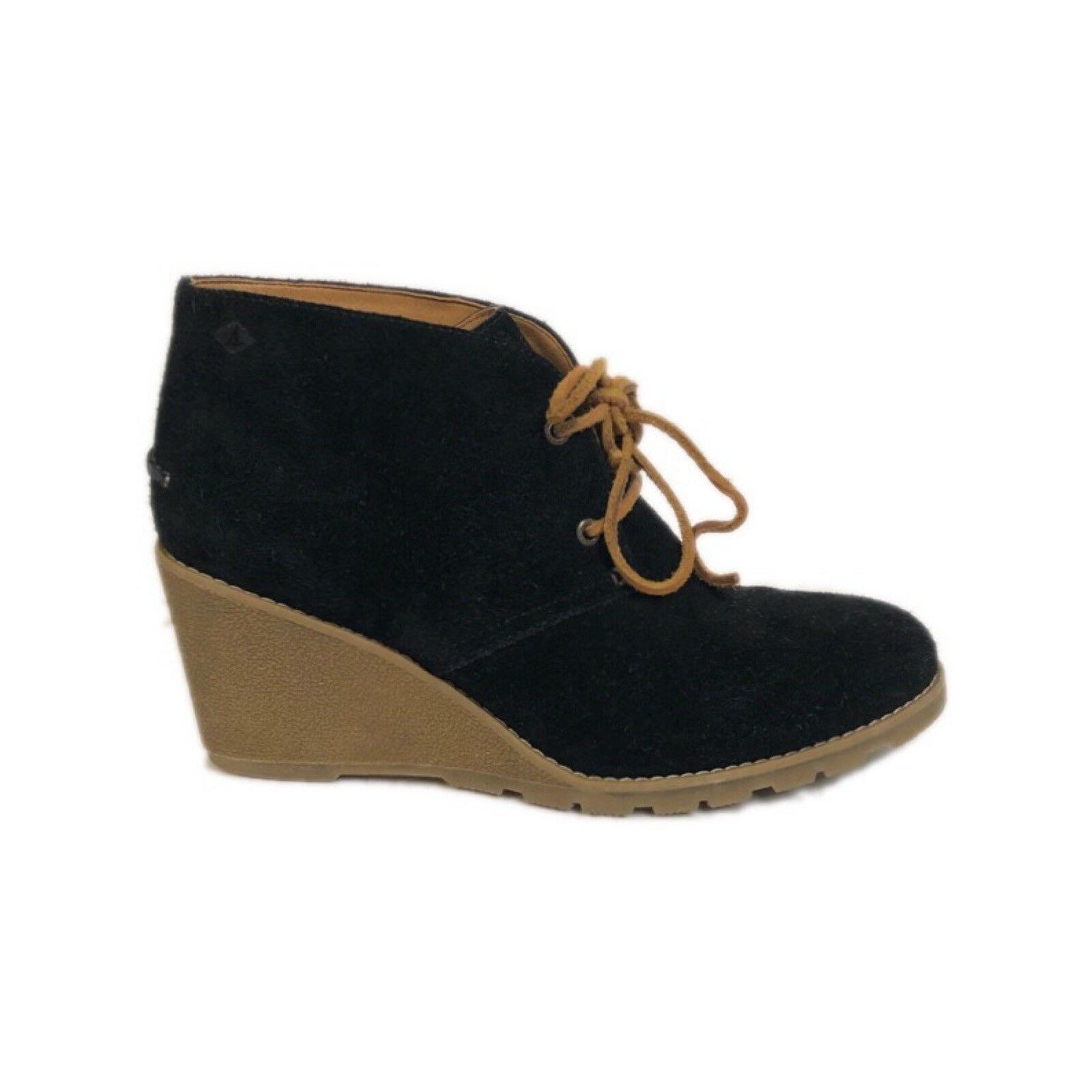 Sperry Top Sider Womens Stella Ankle Boots Size 9.5 Black Suede Leather Wedges