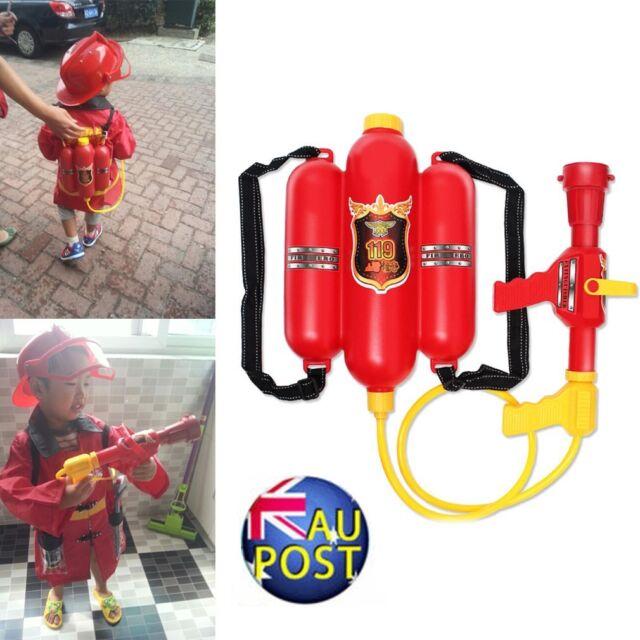 Fireman Backpack Water Gun Extinguisher Water Soaker&Fire Hat Beach Kids Toy KH