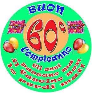 Dettagli Su Cialda In Ostia Per Torta Buon 60 Compleanno Ostie Happy Birthday 60 Anni