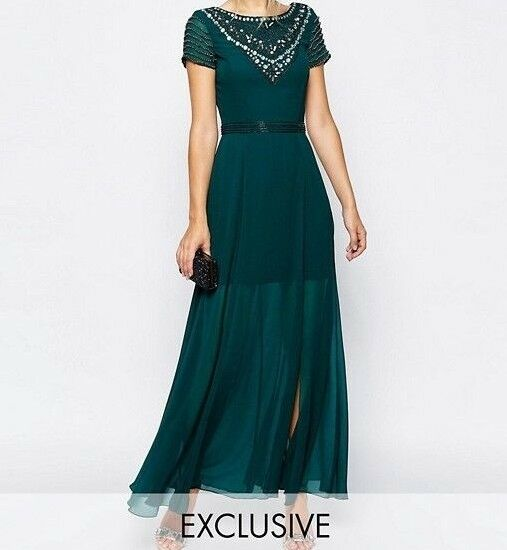 Frock and Frill Maxi Dress With Jeweled Neck in Teal Grün UK6 EU34 RRP