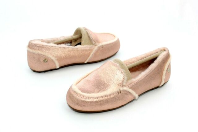 b6d7ffecffe UGG Hailey Metallic Suede Spill Seam MOC Rose Gold Slippers Size 8 US  1096458