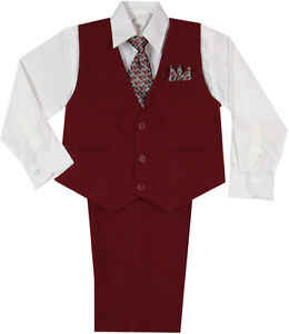 New-Baby-Toddler-amp-Boy-Easter-Formal-Party-Vest-Suit-Burgundy-3M-6M-7-8-10-12-14