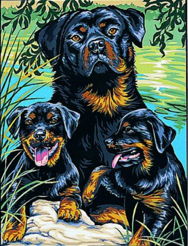 Rottweiler Family Margot de Paris Tapestry//Needlepoint Kit Fam. Rotweiller