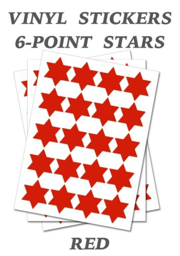 150 Red Six Point Stars Stickers size 15mm Self Adhesive Vinyl Labels