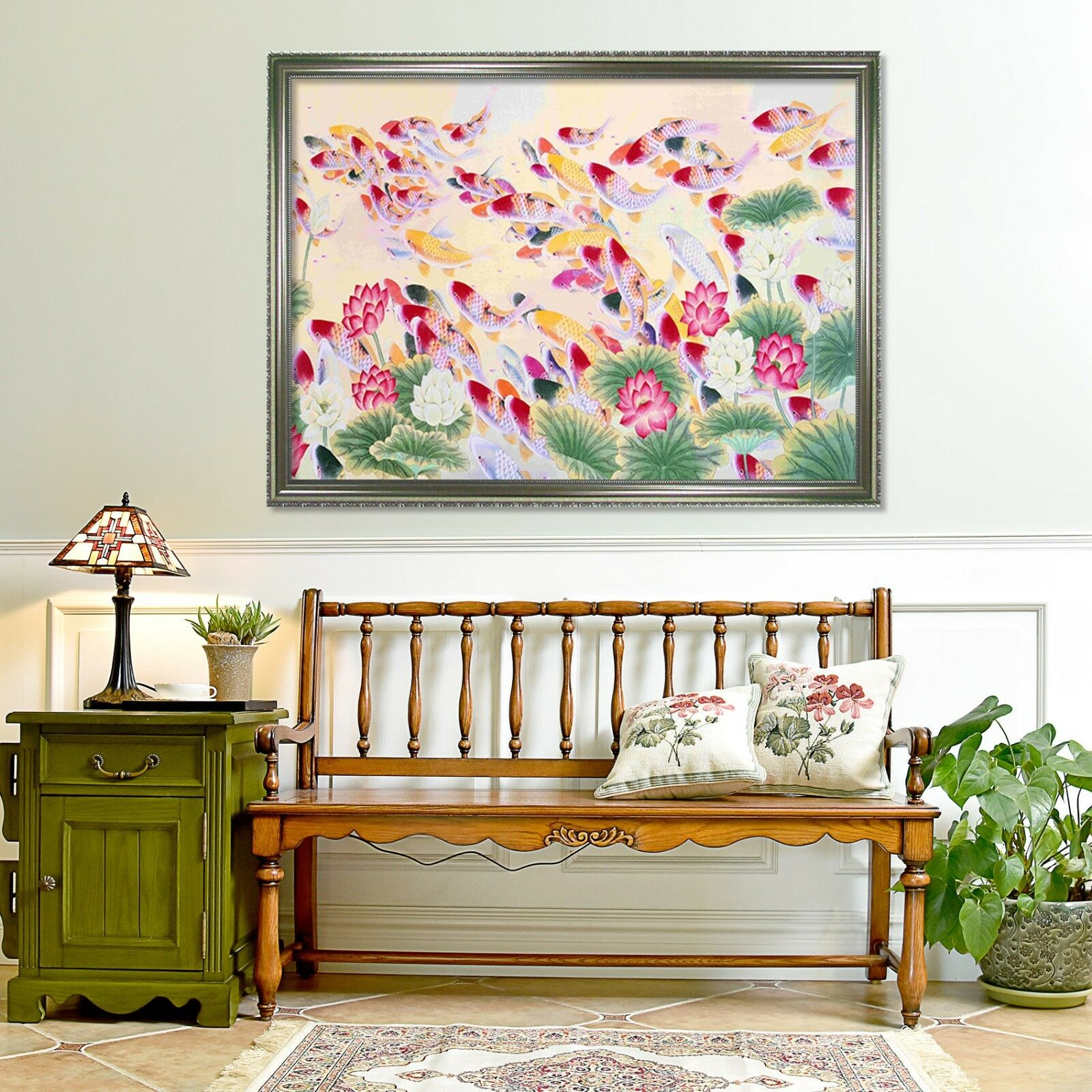 3D Koi Estanque 2 Póster Enmarcado grupo Lotus Decoración del Hogar Pintura de Impresión Arte Wallpaper