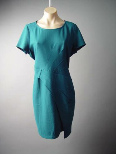 Teal Textured Sculptural Pleated Career Business Sheath 144 mv Dress 1XL 2XL 3XL