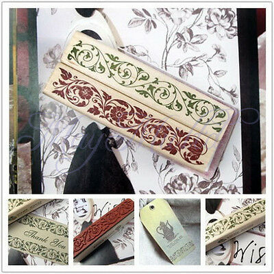 Wooden Rubber Stamp Flower Lace Handwriting Floral Scrapbooking Craft BeautifulS