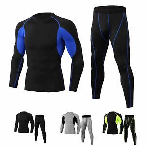 Men-039-s-Workout-Compression-Legging-Shirt-Gym-Sportswear-Cool-Dry-Moisture-Wicking