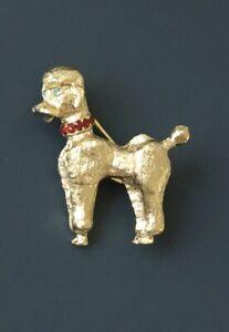Vintage-poodle-dog-Pin-brooch-gold-tone-metal
