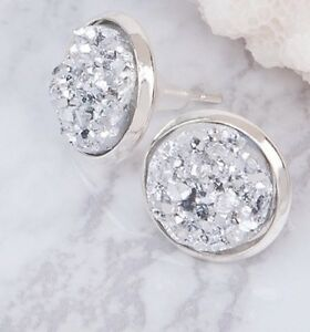 ce1f0d330 Image is loading 12mm-Sparkly-Round-Druzy-Earrings-Studs-Silver