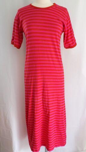 MARIMEKKO Dress Pink Red Stripe T-Shirt Midi Sheat
