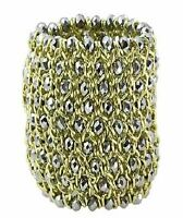 Gold And Silver Metallic Glass Bead Bracelet