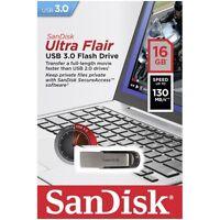 Sandisk 16gb Cruzer Ultra Flair Usb 3.0 130mb/s Flash Mini Pen Drive Fast Sdcz73
