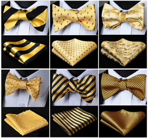17-Style-Gold-Yellow-Men-039-s-Self-Bow-Tie-Woven-Silk-Plaid-Solid-Pocket-Square-Set