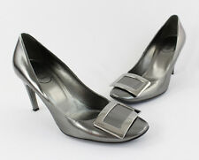 Roger Vivier Silver High Gloss Leather Logo Metal Buckle Accent Heel Shoe 8.5