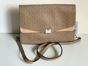 NEW-GUESS-DRYDEN-COLLECTION-MOCHA-BROWN-LOGO-CROSSBODY-SLING-MESSENGER-BAG-SALE