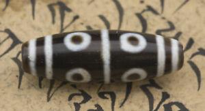 Dzi Perle Tibetano 8 Yeux Himalaya Antico Agata Puro Feng 7052 - D76