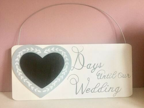 Wooden Days Until Our Wedding Chalkboard Countdown Plaque Sign Shabby Chic