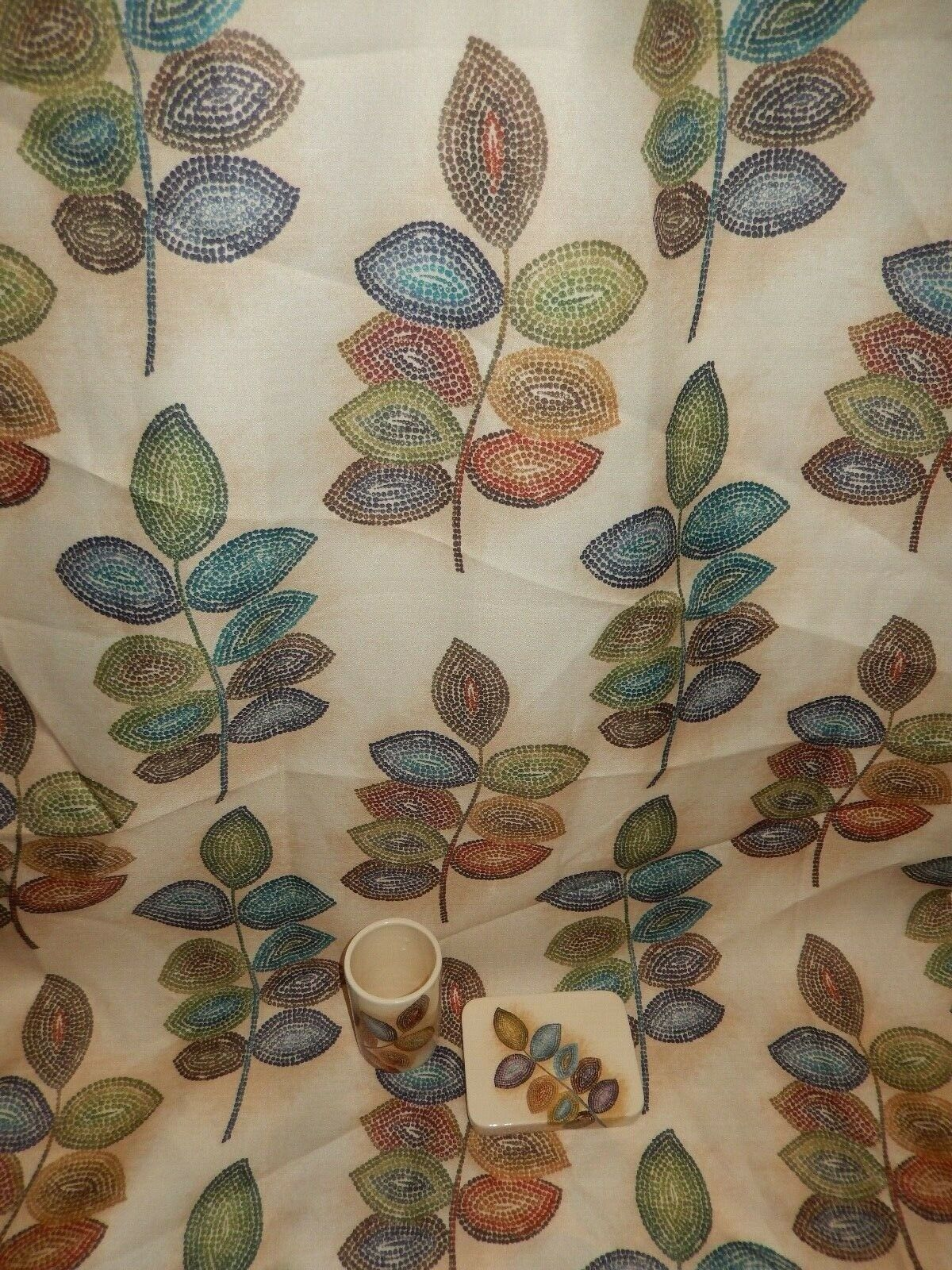 Croscill MOSAIC LEAVES Fabric Shower Curtain + Ceramic Tumbler & Soap Dish