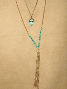 UNIQUE-VINTAGE-MULTI-CHAIN-TURQUOISE-BEAD-PENDANT-24-034-NECKLACE-WITH-FRINGE