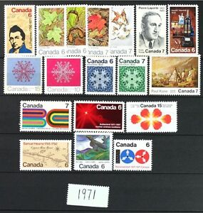 CANADA-Postage-Stamps-1971-Complete-Year-Set-collection-Mint-NH-See-scans