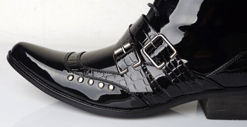 Boucle De Rétro Style Goth Pointu Hommes Chian Punk Bout Bottines Chaussures Britanniques Chaud rdChtsQx