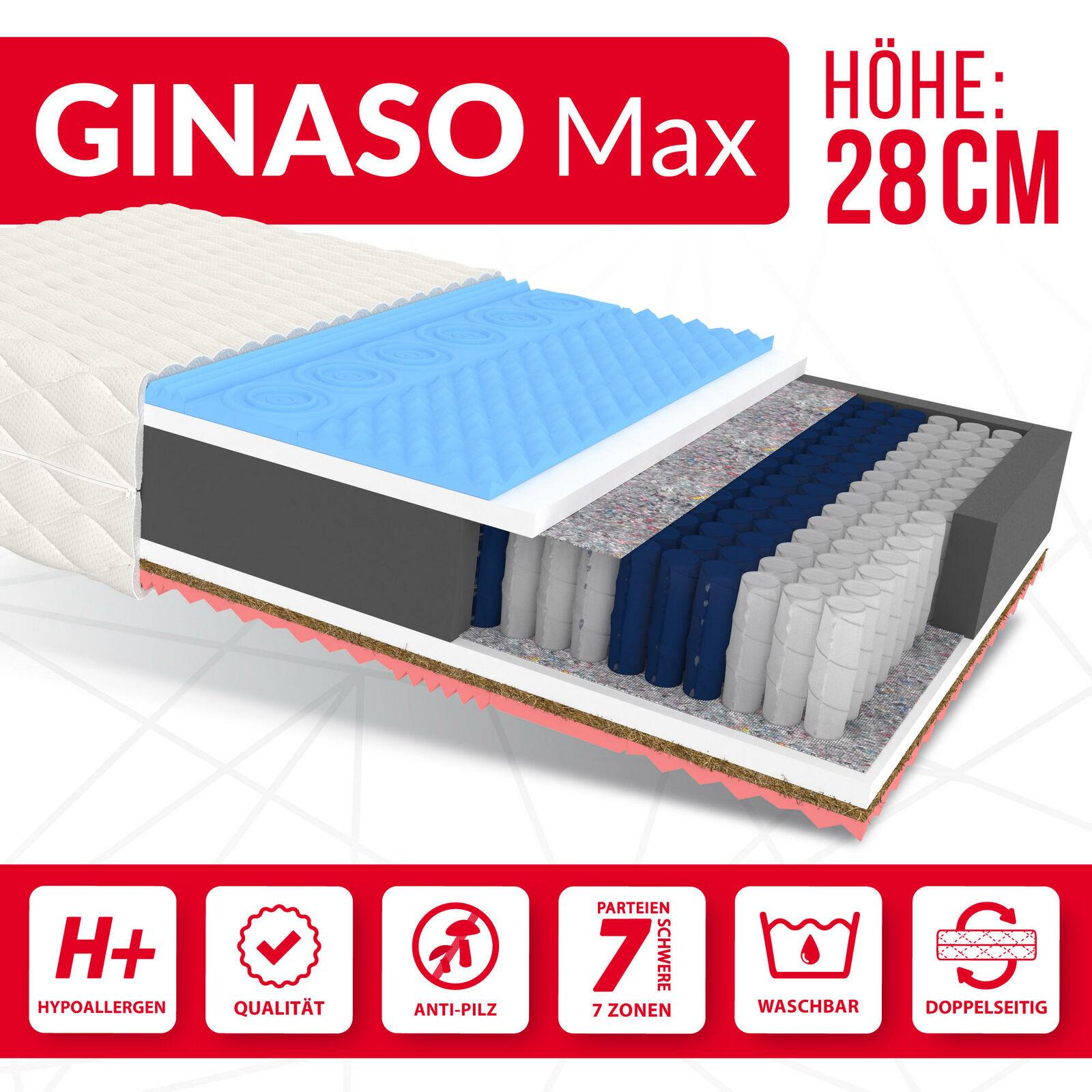 Matratze 120x200 Taschenfederkern GINASO MAX H2 H3 7 Zonen Visco HR 28 cm JERSEY