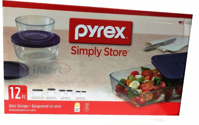 12 PC Pyrex Glass Food Storage Container Set Made In USA Brand New