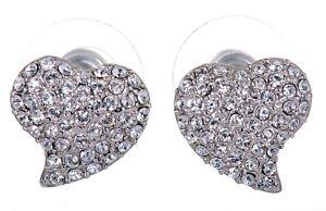 Details About Swarovski Elements Crystal Heart Alana Pierced Earrings Rhodium Authentic 7118u
