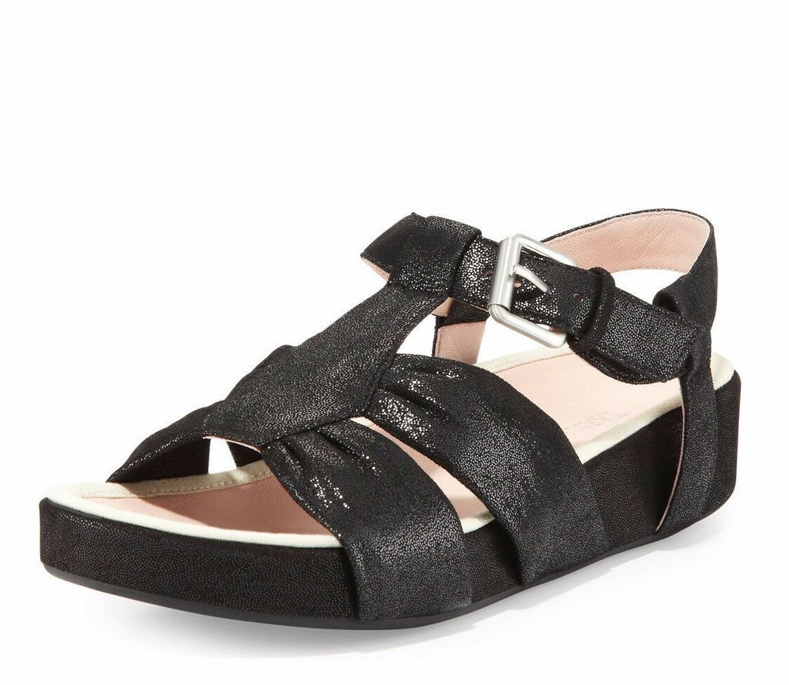 NEU TARYN ROSE WOMEN Sz7 AVILES SUEDE STRAPPY SANDAL IN BLACK