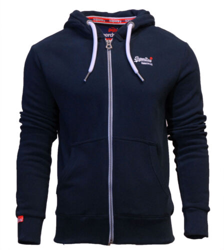 Top Superdry Orange Label Nuovo Da Uomo Con Cerniera Felpa Con Cappuccio Blu Navy