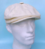 Flat Cap Baker Boy News Boy 8 Panel Cream White Linen Summer