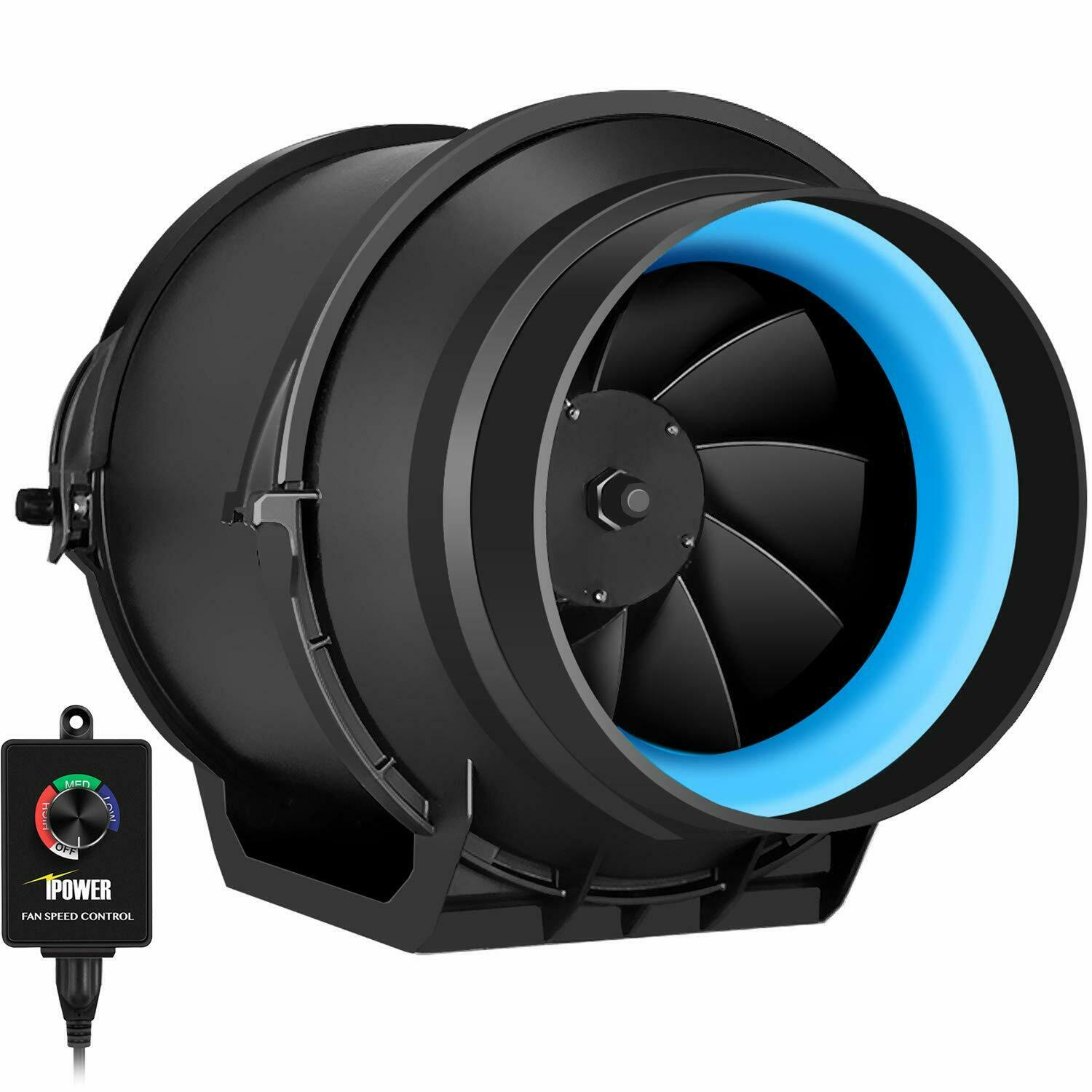 iPower 4/'/'6/'/'8/'/' Inline Grow Tent Ventilation Air Ducting Carbon Filter Fan Set