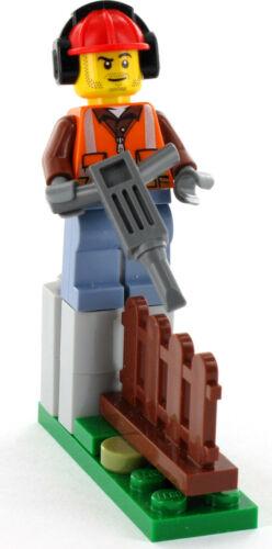 NEU LEGO City Bauarbeiter mit Presslufthammer und Zaun aus Set 60219