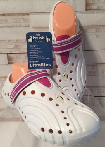 HOUNDS Women's Ultralite Shoes White Hot Pink Arch Support Soft Size 9//10 New