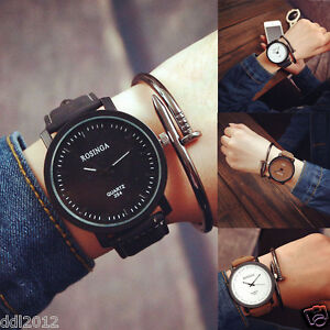Fashion-Mens-Women-039-s-Simple-Retro-Watches-Leather-Band-Analog-Quartz-Wrist-Watch